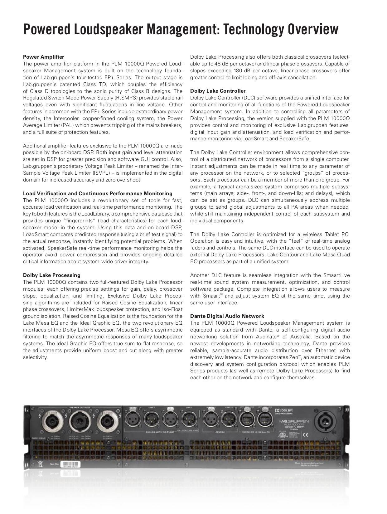 Lab.gruppen Amp PLM Series PLM 10000Q pdf page preview