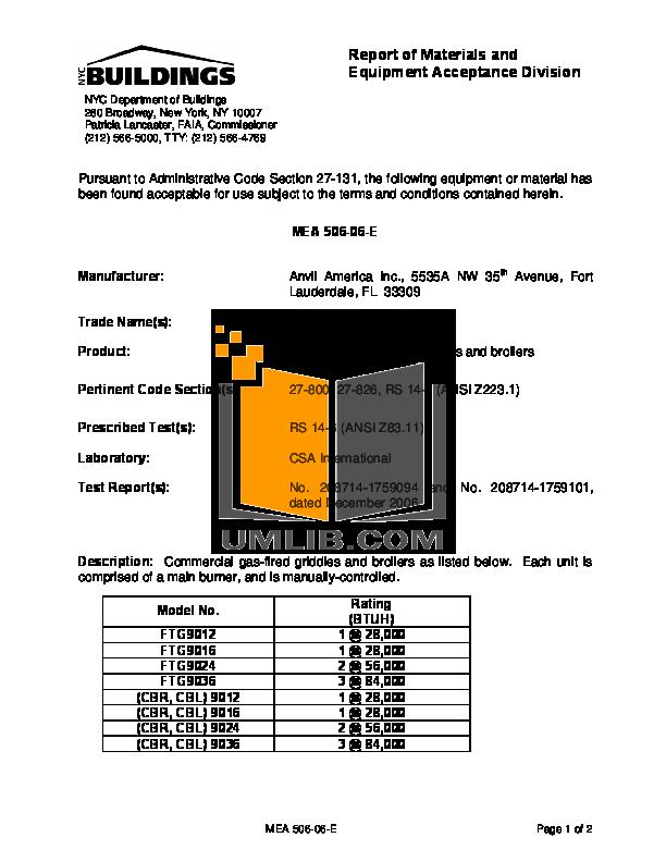 pdf for Anvil Other CBL9012 Broiler manual
