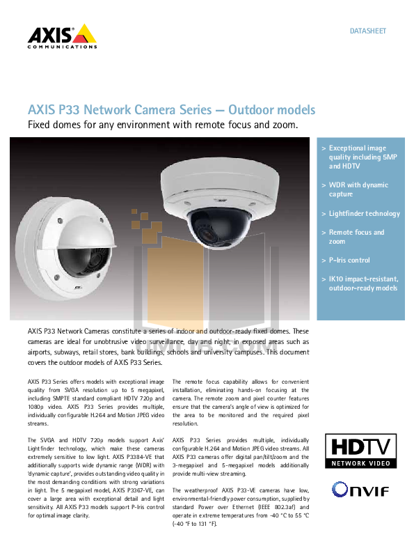 pdf for Axis Security Camera P3346-VE manual