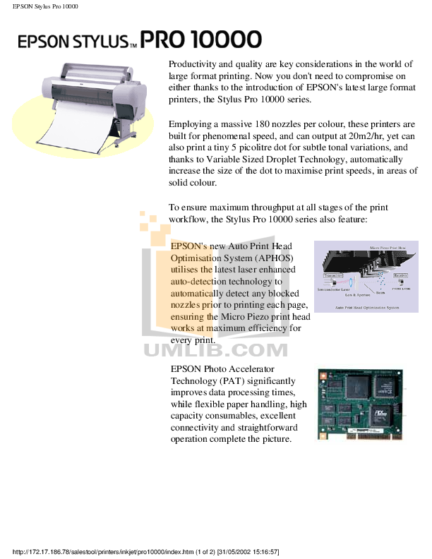 pdf for Epson Printer Stylus Pro XL manual