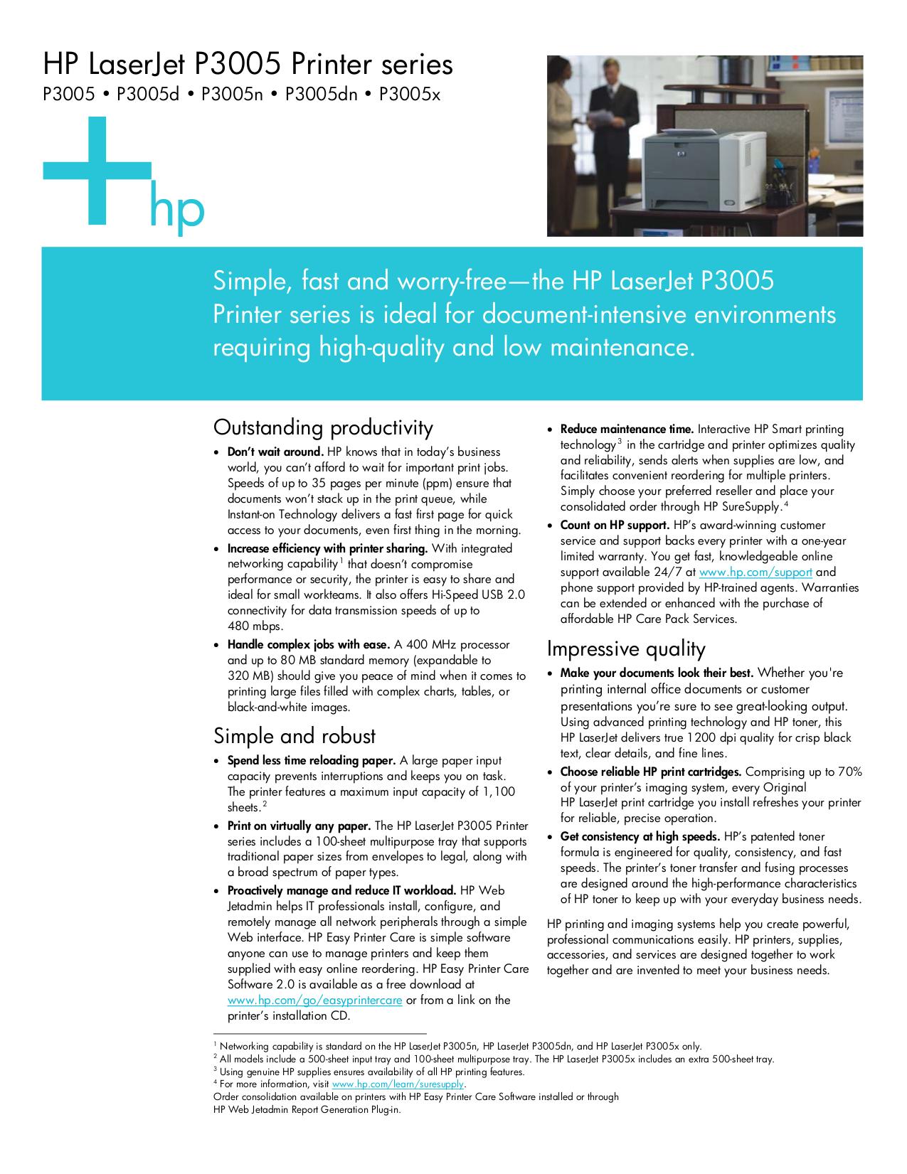 Download free pdf for HP Laserjet,Color Laserjet P3005dn Printer manual