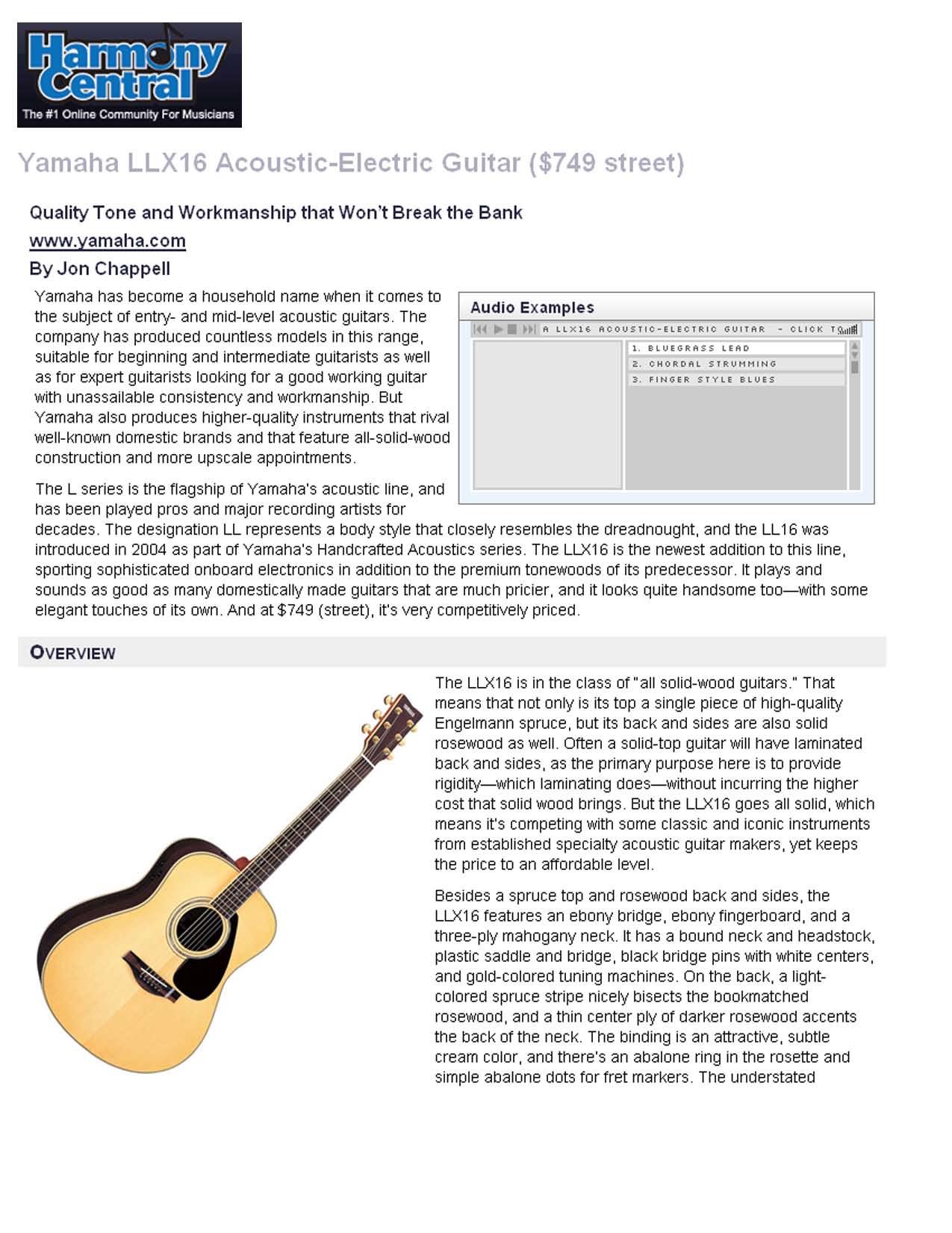 pdf for Yamaha Guitar LLX16 manual