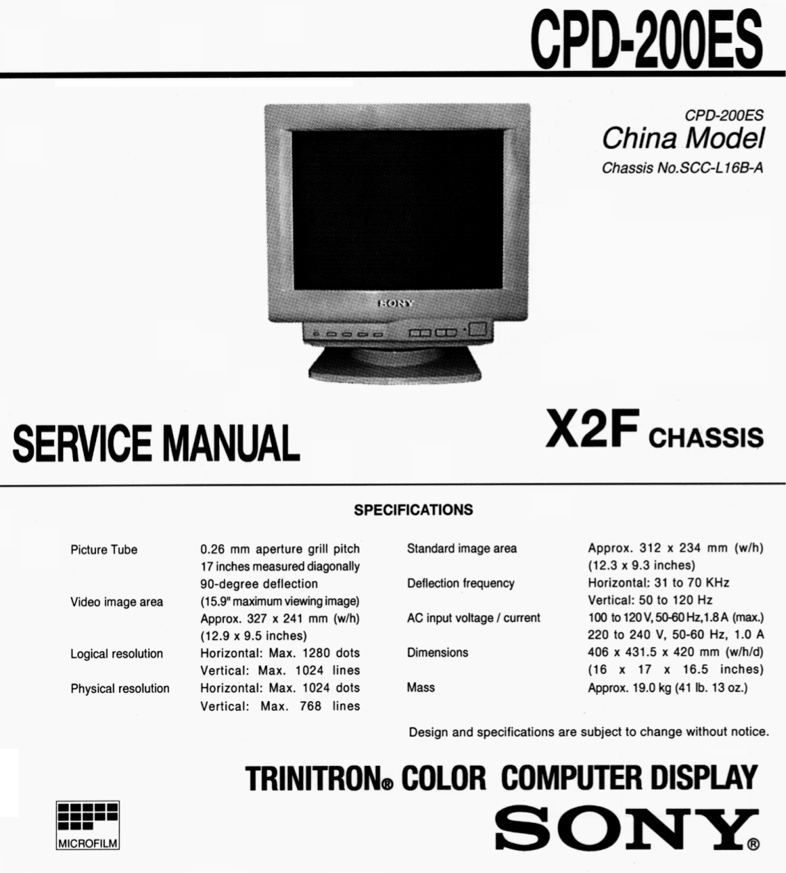 Sony Monitor CPD-200ES pdf page preview