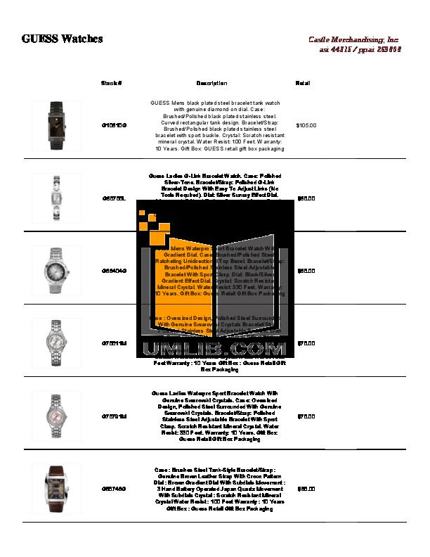 download free pdf for guess u16518g1 watch manual rh umlib com Guess Ladies' Waterpro Bracelet Watch guess watch waterpro 100m/330ft manual