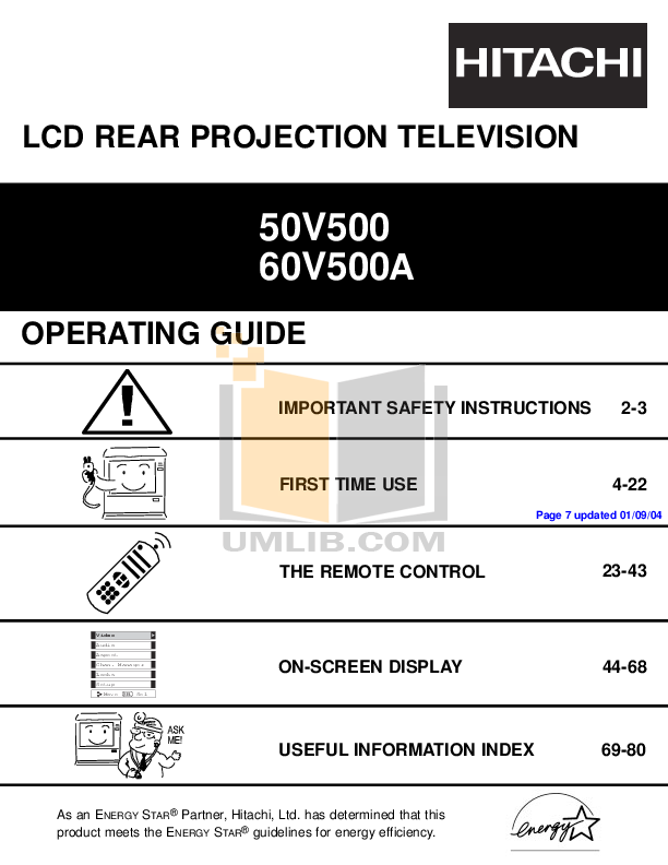 pdf for Hitachi TV 50V500 manual