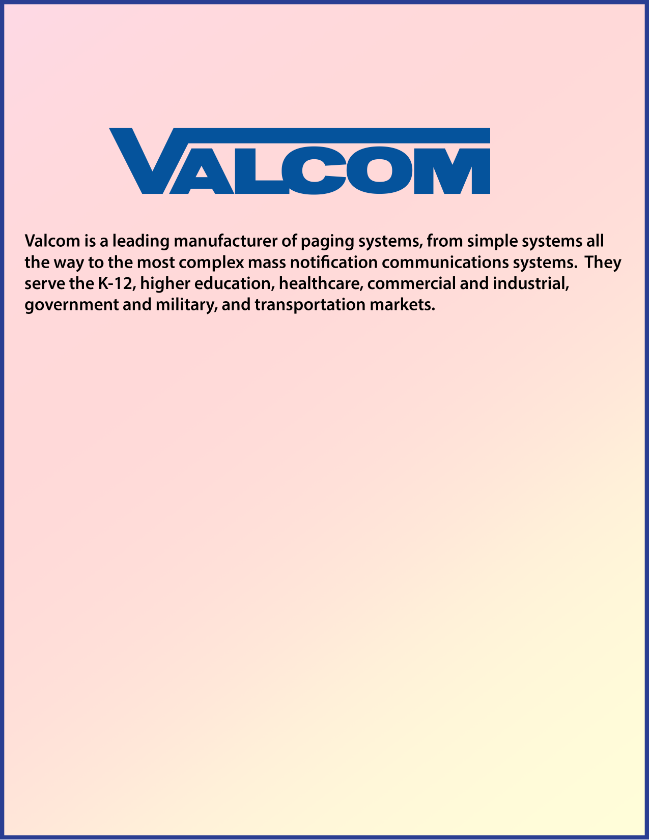 pdf for Valcom Speaker V1024C manual