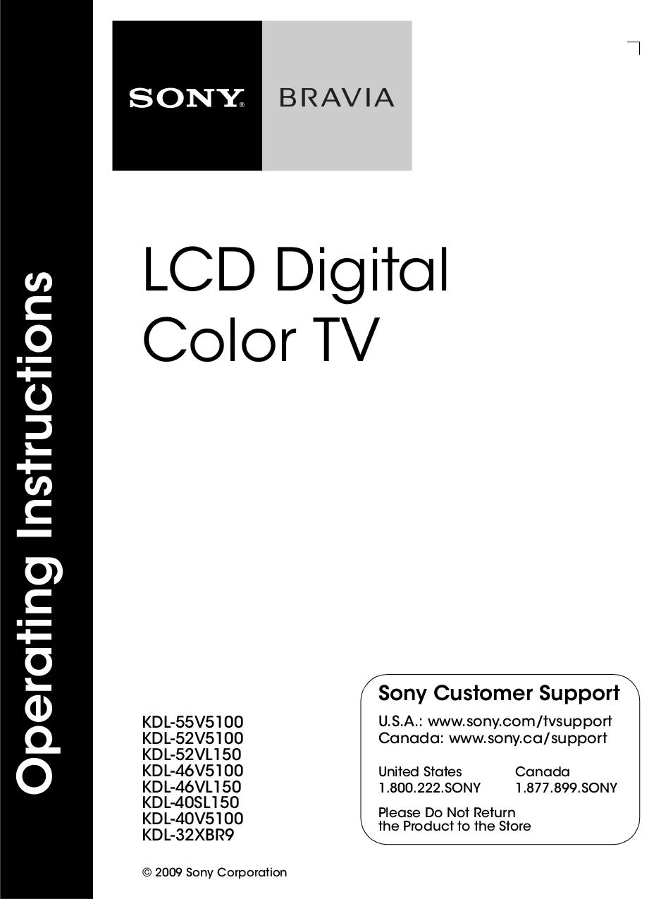 Pdf For Sony Tv Bravia Kdl40sl150 Manual