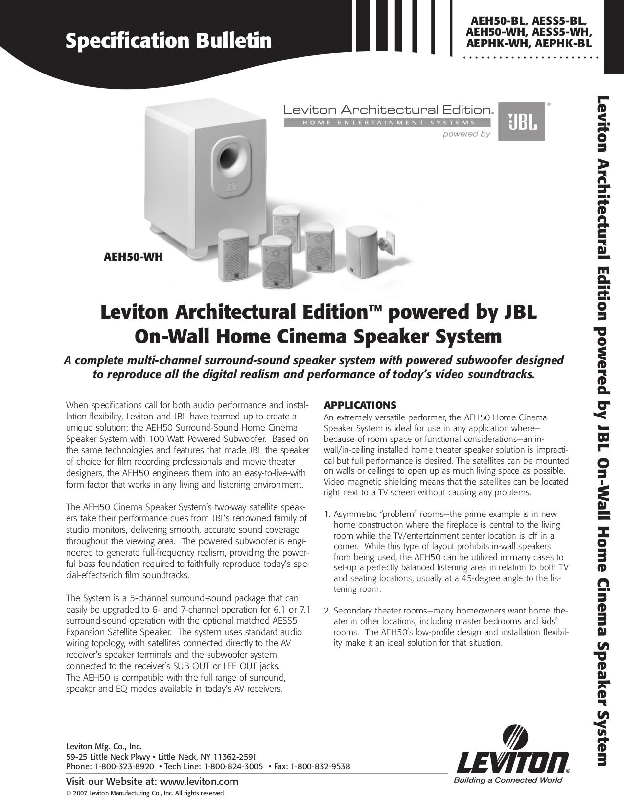 pdf for Leviton Speaker AESS5 manual
