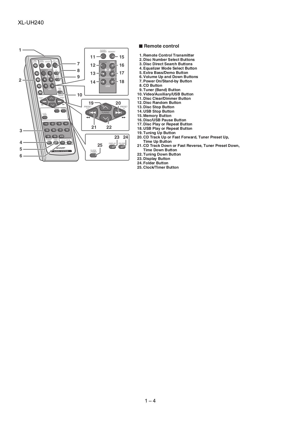 Sharp xl uh240 manual ebook sharp xl uh242 service manual array pdf manual for sharp other xl uh240 stereo systems rh umlib com fandeluxe Images