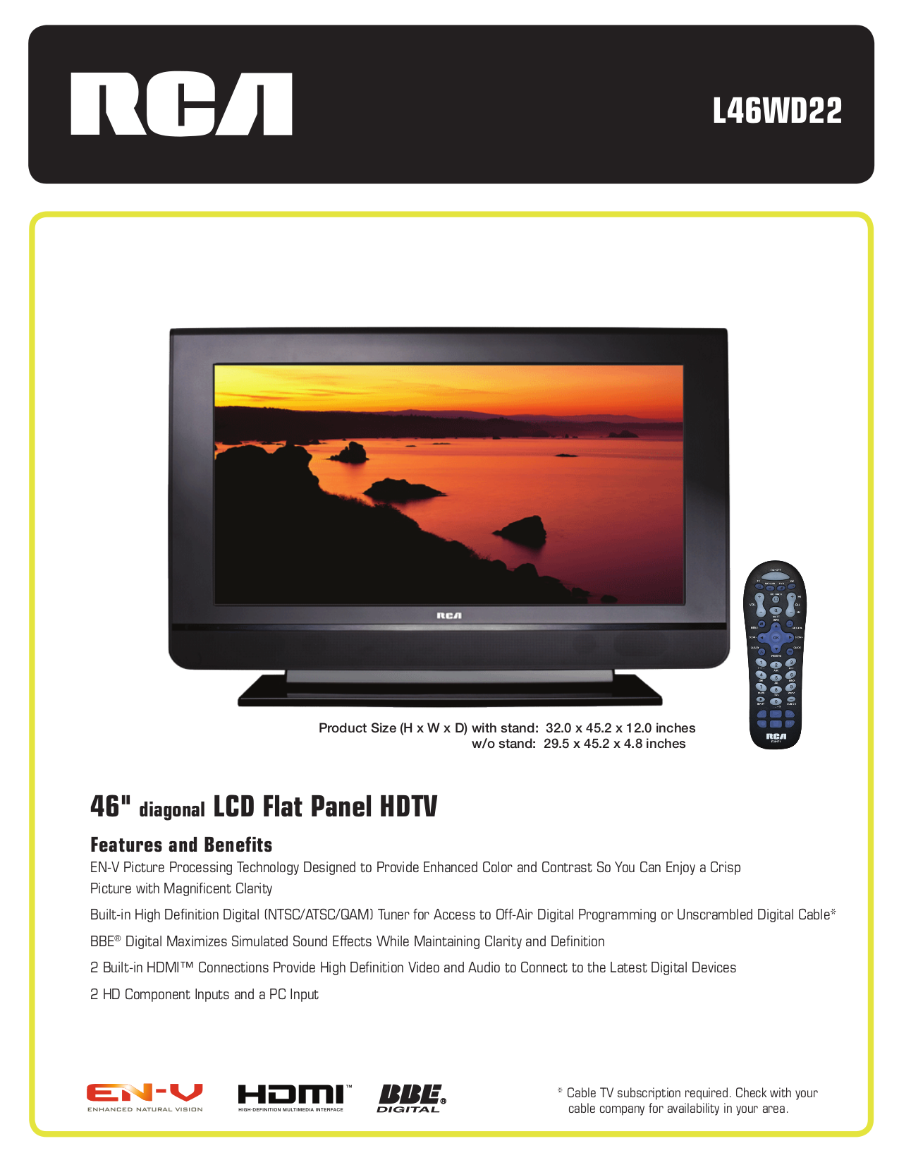 pdf for RCA TV L46WD22 manual