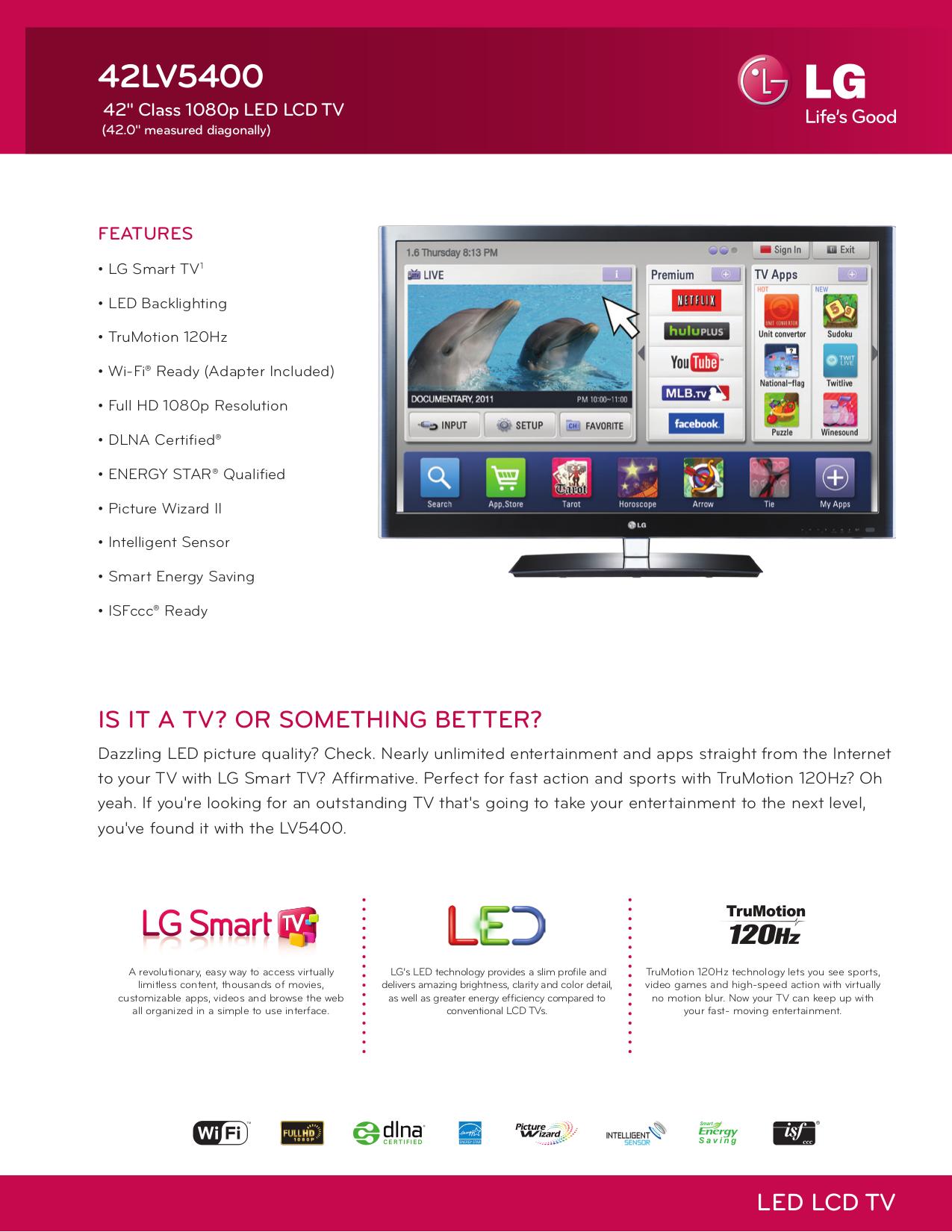 Download free pdf for LG 42LV5400 TV manual