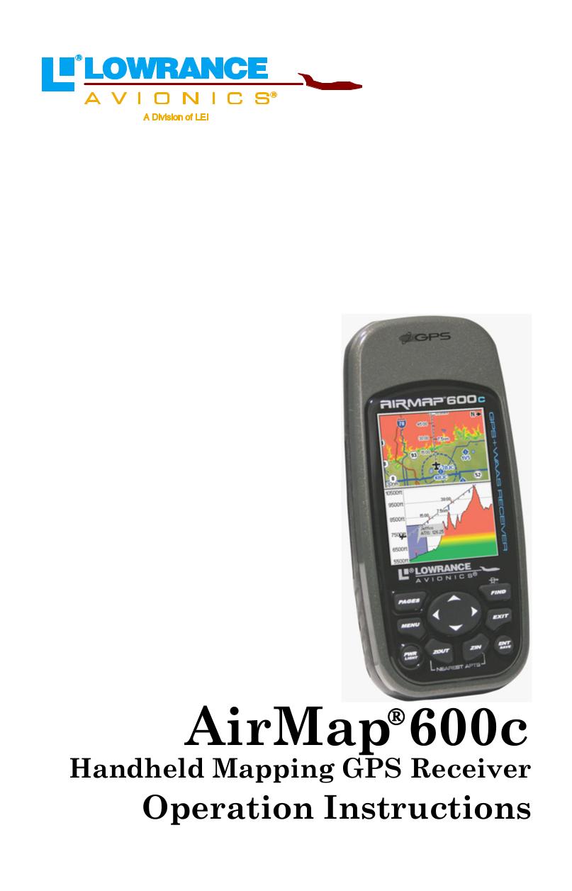 pdf for Lowrance GPS AirMap 600C manual