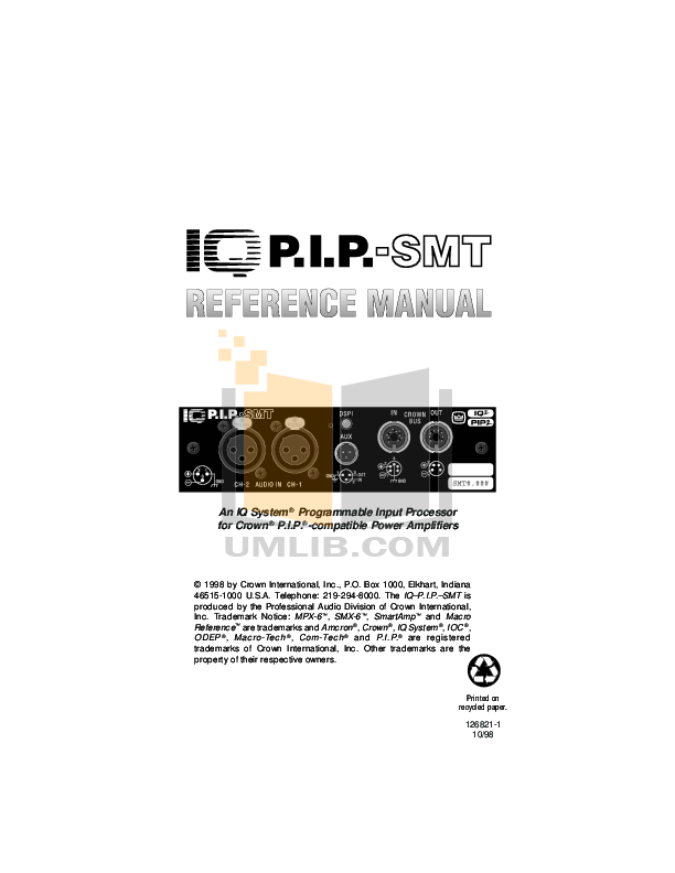 pdf for Crown Other IQ-PIP-SMT Input Processors manual