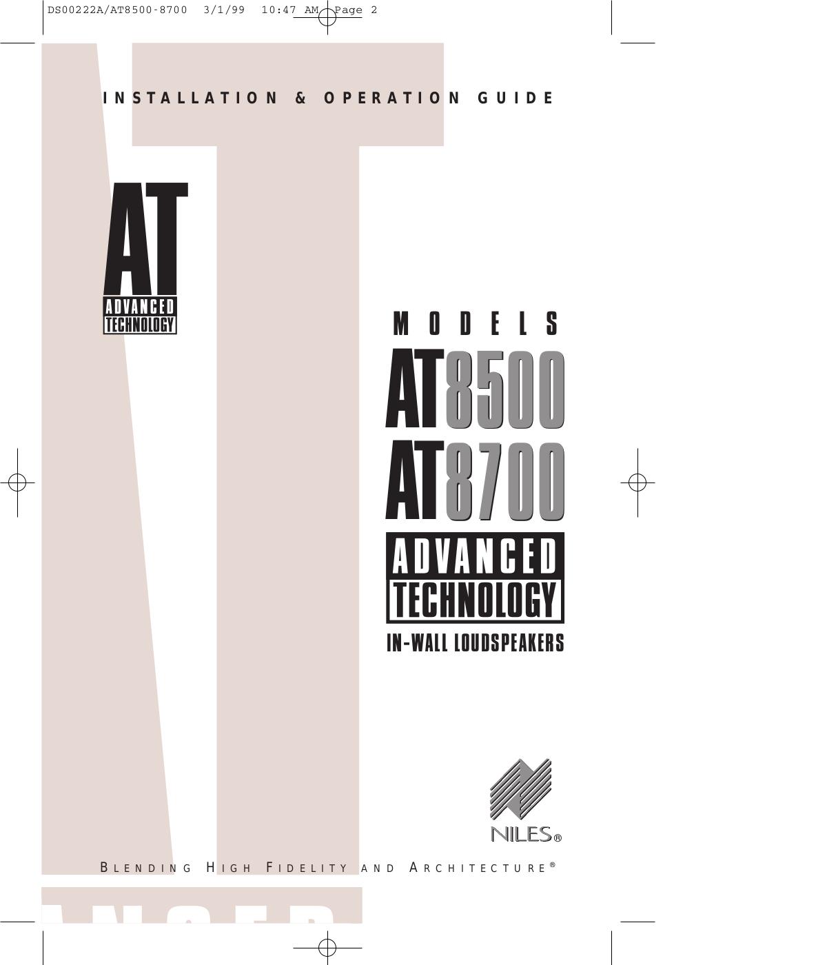 pdf for Niles Speaker AT8500 manual