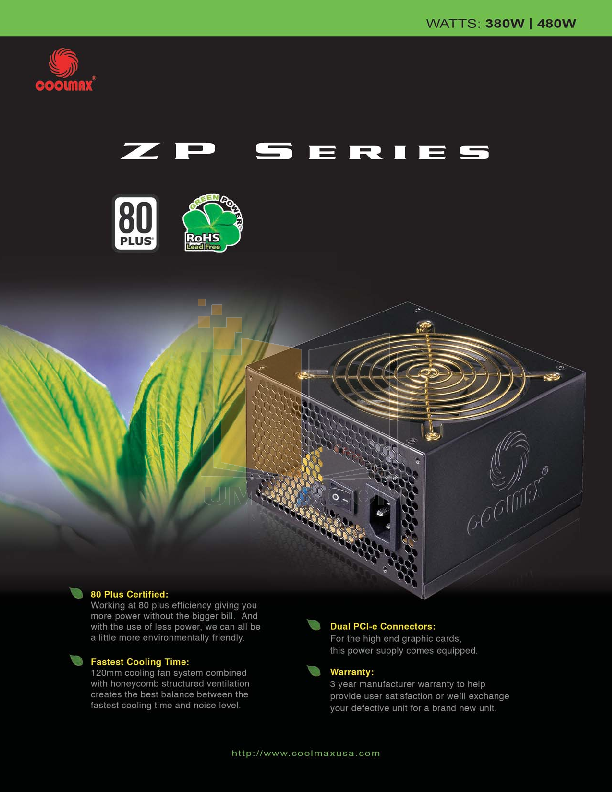 pdf for Coolmax Other ZP-380B Power Supply manual