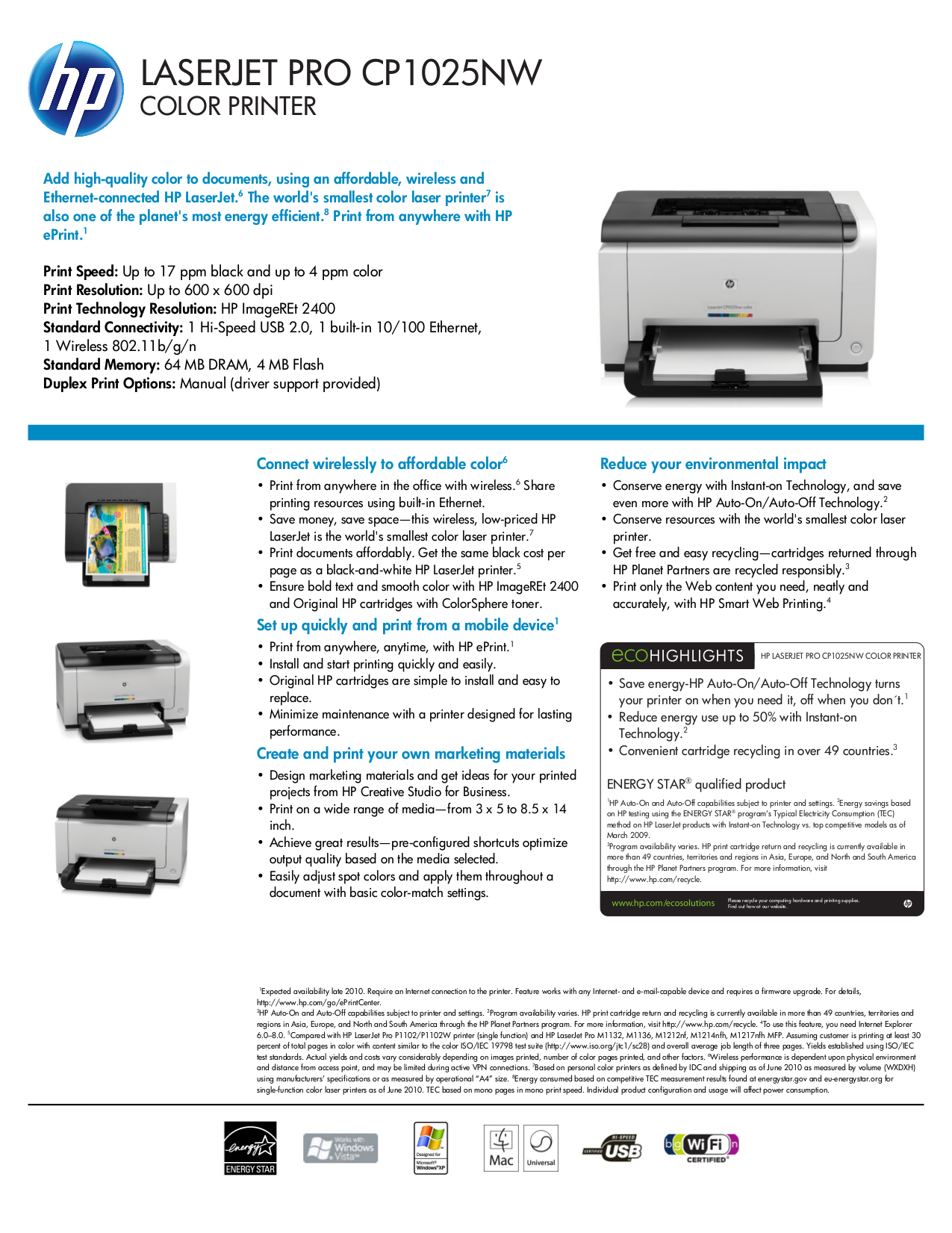 pdf for HP Printer Laserjet,Color Laserjet Pro CP1025nw manual