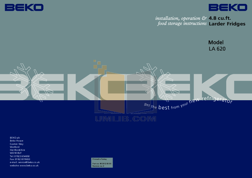 pdf for Beko Freezer LA620 manual