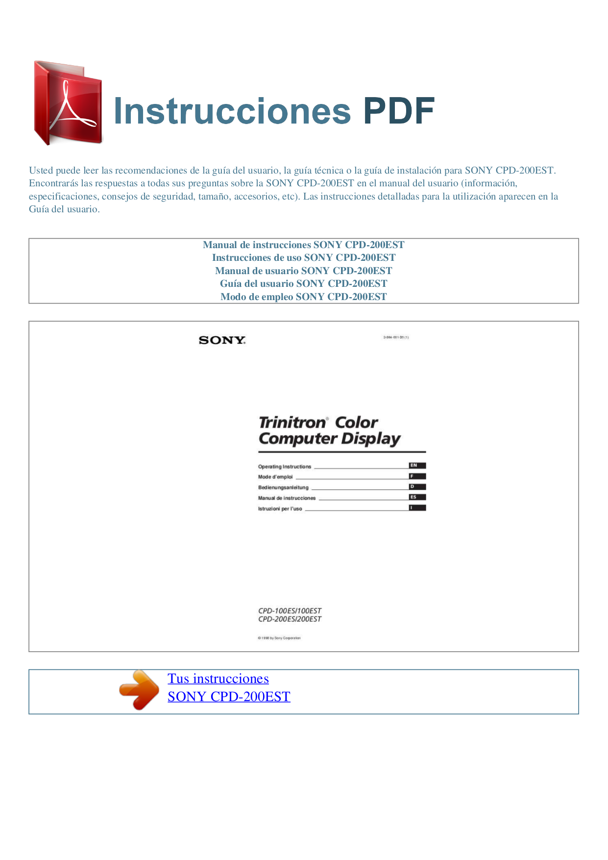 pdf for Sony Monitor CPD-200ES manual
