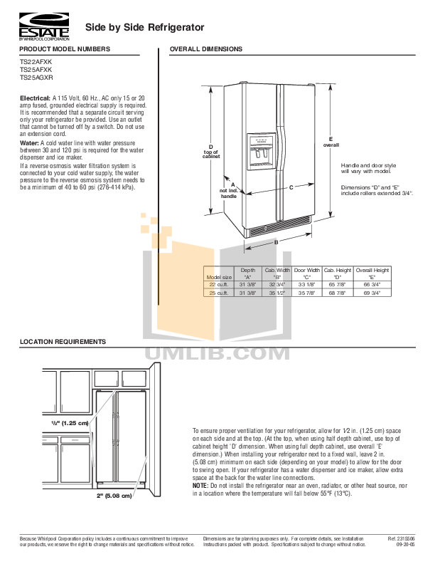 pdf for Estate Refrigerator TS25AGXR manual
