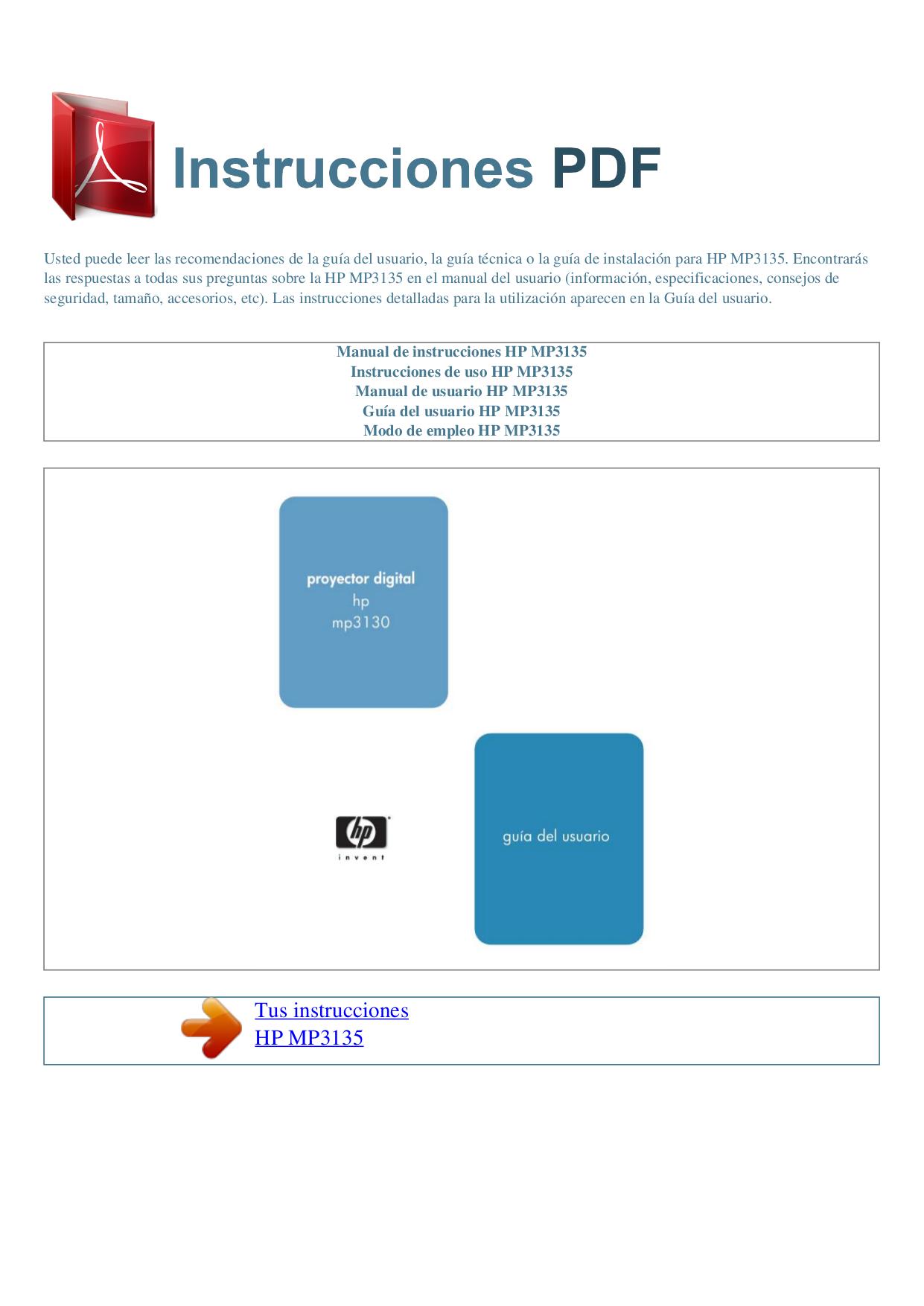 Hp mp3135 projector manual.