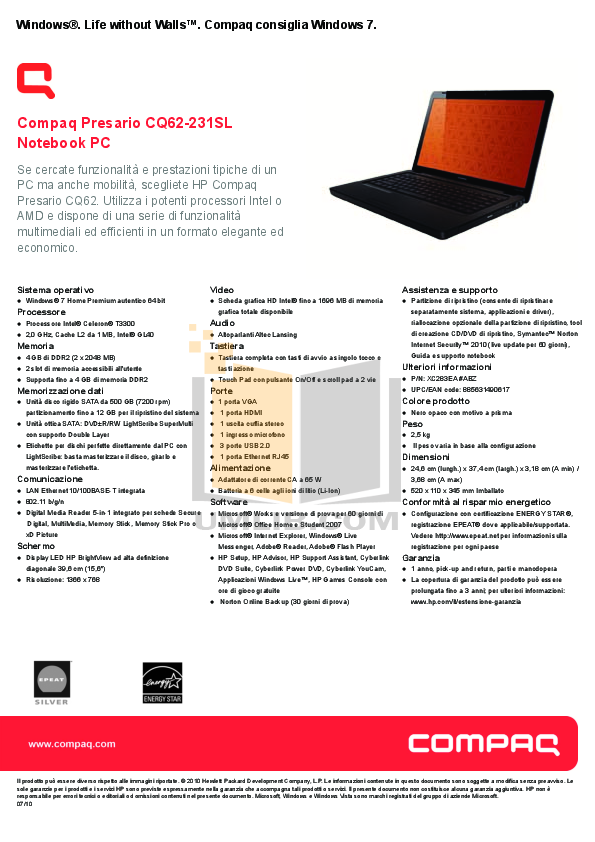 pdf for HP Laptop Compaq Presario,Presario CQ62-231 manual