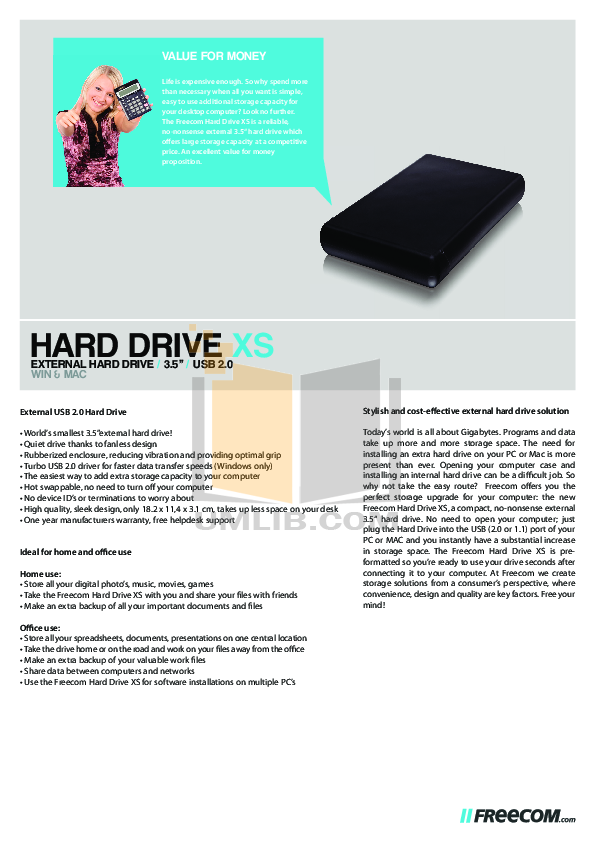 pdf for Freecom Storage Hard Drive manual
