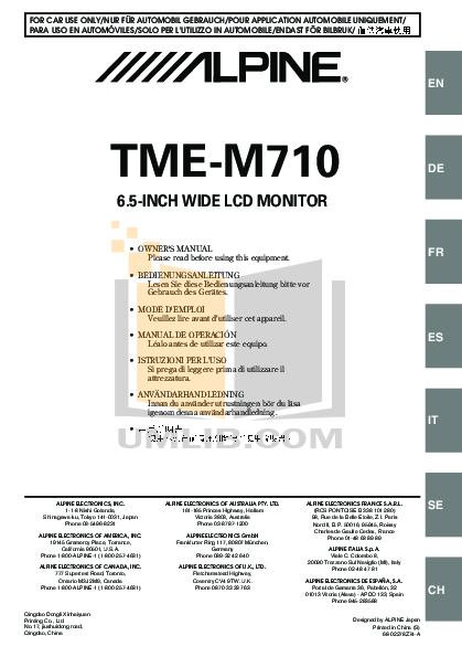 pdf for Alpine Car Video TME-M710 manual