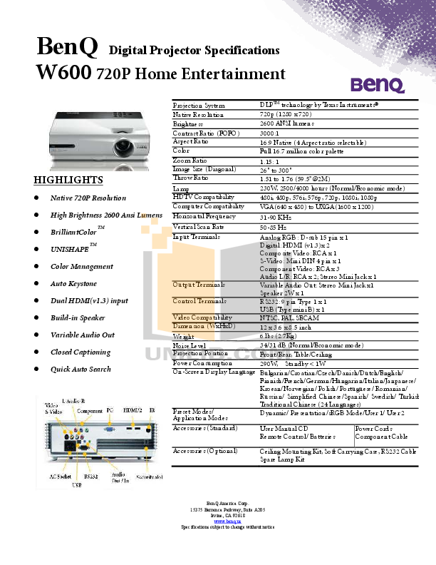 pdf for Benq Projector W600 manual