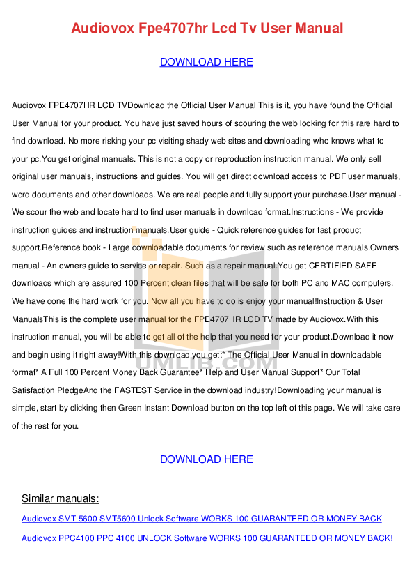 pdf for Audiovox TV FPE1705 manual