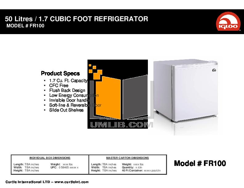 pdf for Curtis Refrigerator FR100 manual