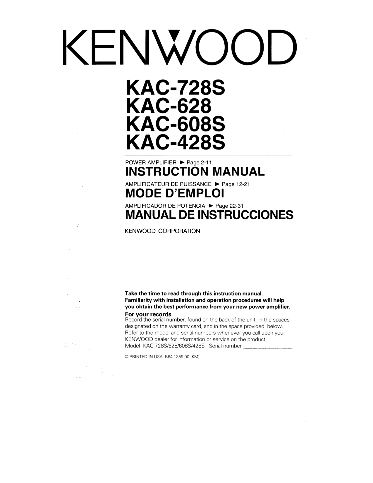 113kac728s.pdf 0 download free pdf for kenwood kac 728s car amplifier manual kenwood kac 7285 wiring diagram at gsmx.co