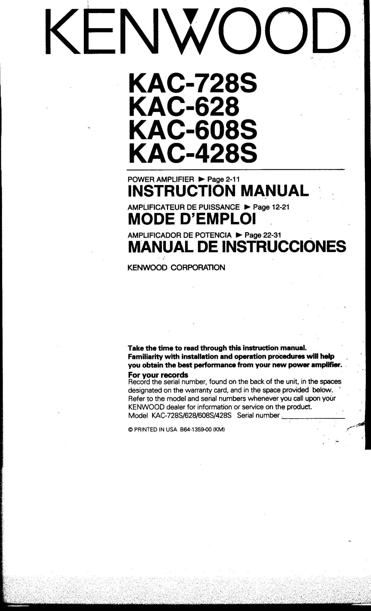 kac728s.pdf 0 download free pdf for kenwood kac 728s car amplifier manual kenwood kac 7285 wiring diagram at gsmx.co