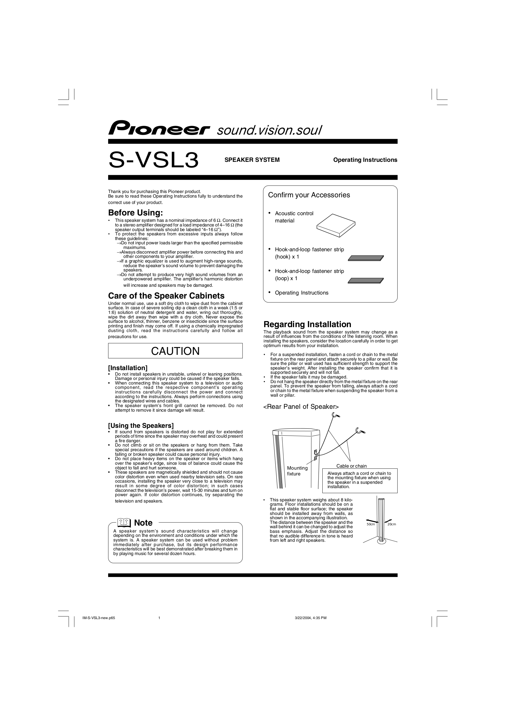pdf for Pioneer Speaker S-VSL3 manual