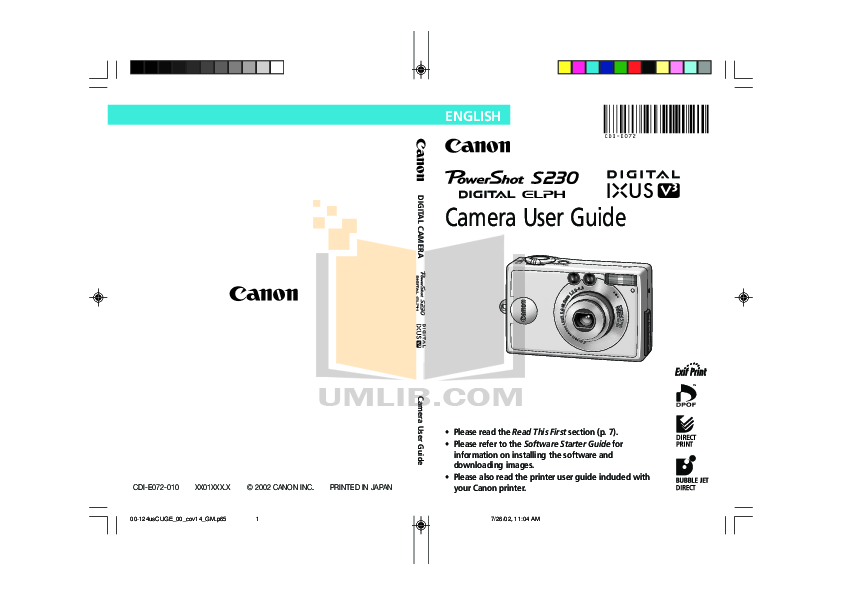 Canon Digital Camera Powershot S230 pdf page preview