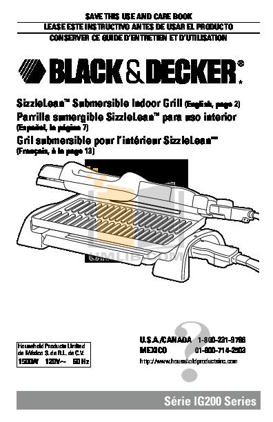 pdf for BlackAndDecker Grill IG200 manual