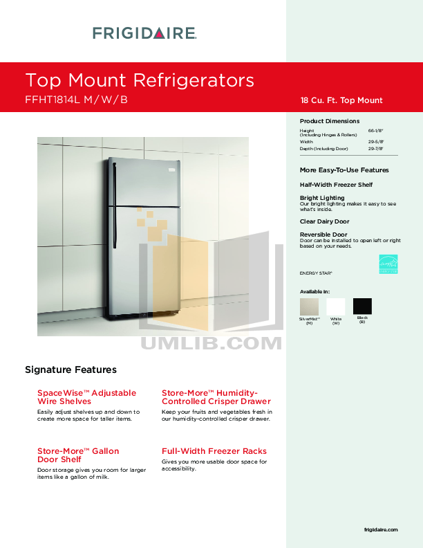 pdf for Frigidaire Refrigerator FFHT1814L manual