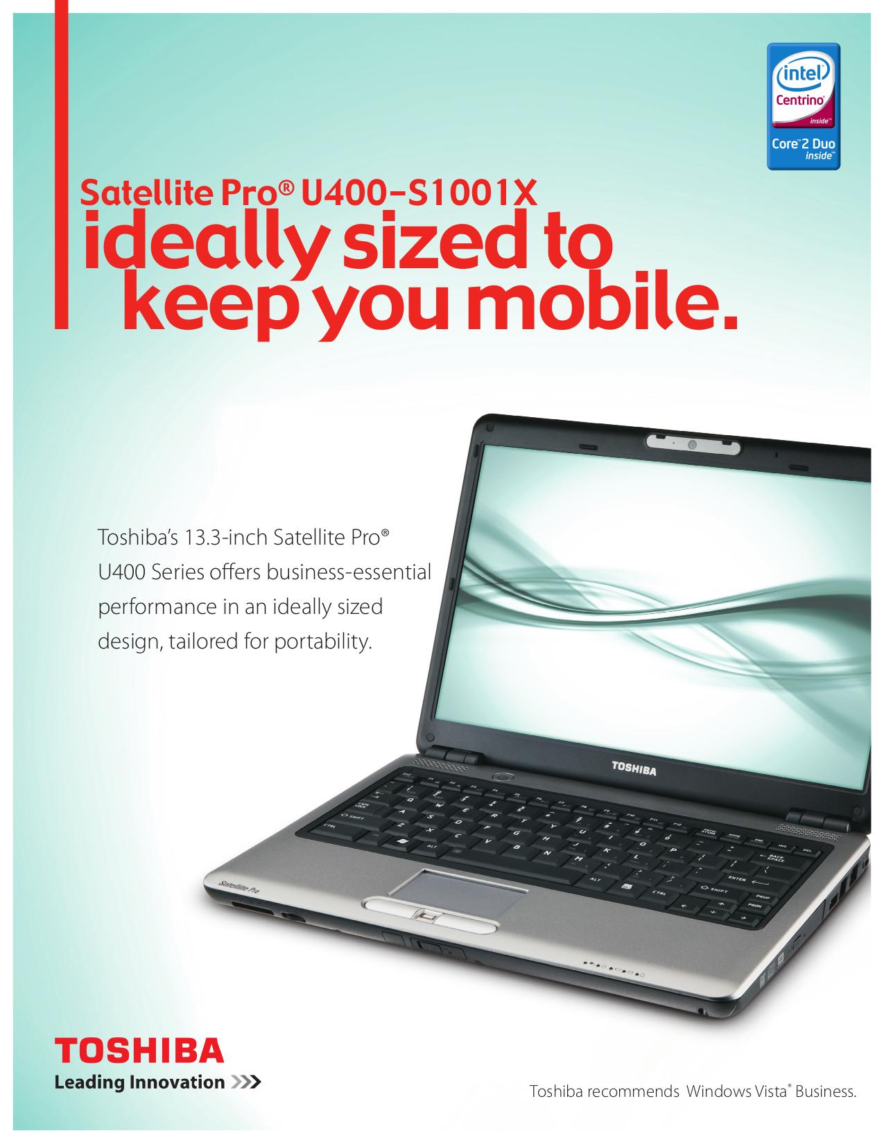 download free pdf for toshiba satellite pro u400 s1001x laptop manual rh umlib com Toshiba Libretto Toshiba Satellite Pro 430CDS