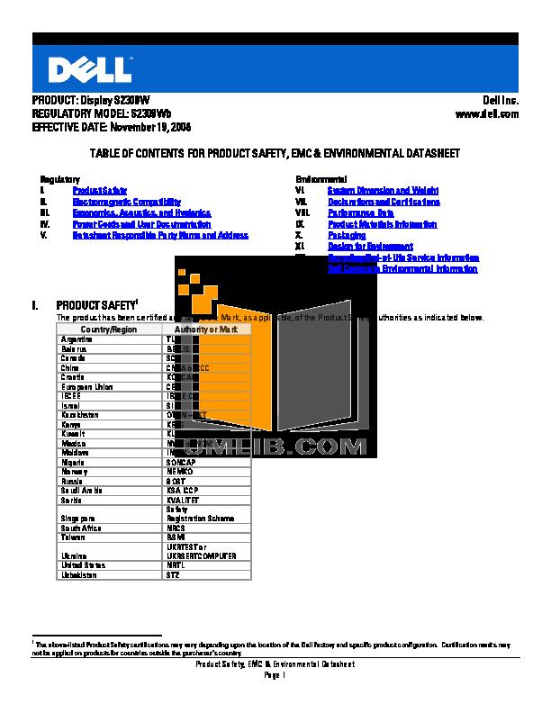 pdf for Dell Monitor S2309W manual