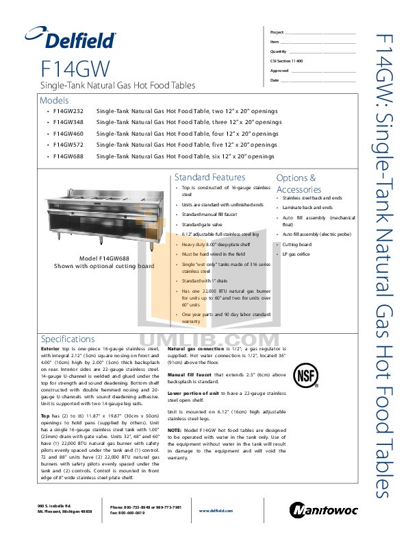 pdf for Delfield Other F14GW572 Hot Food Table manual