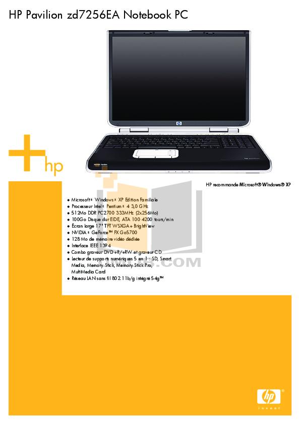 pdf for HP Laptop Pavilion ZD7256 manual