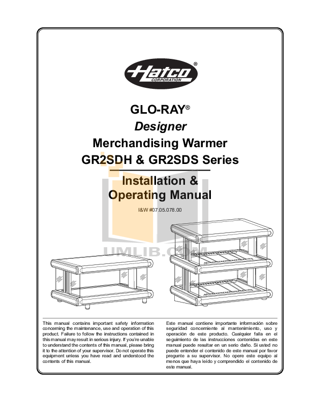 pdf for Hatco Other GR2SDS-48D manual
