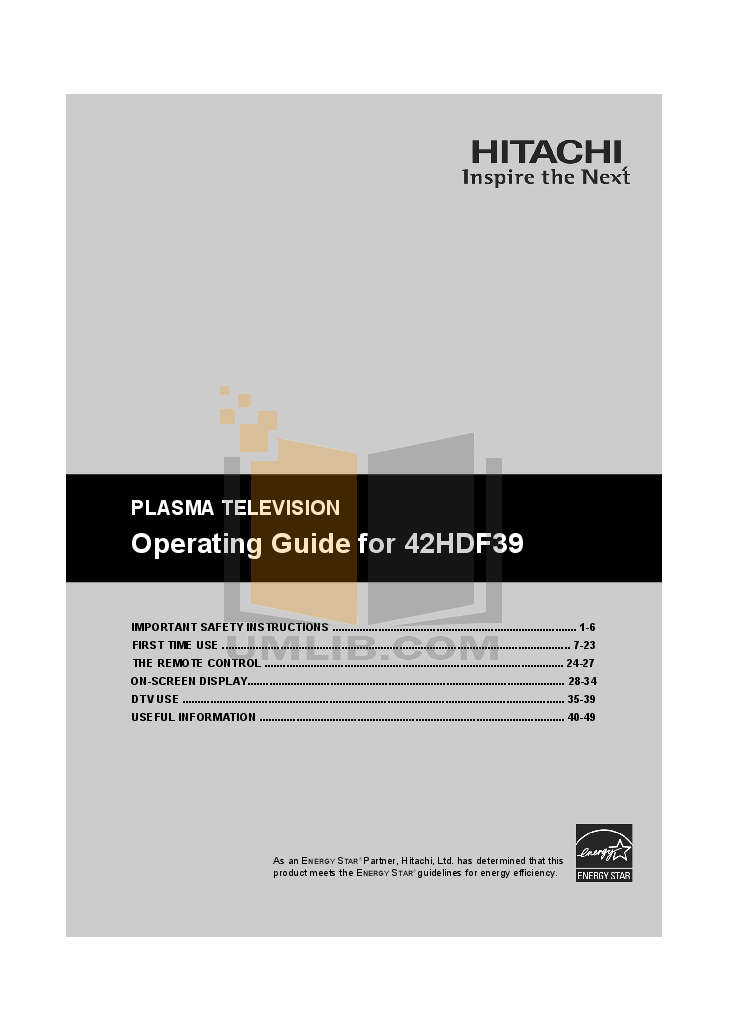 pdf for Hitachi TV 42HDF39 manual