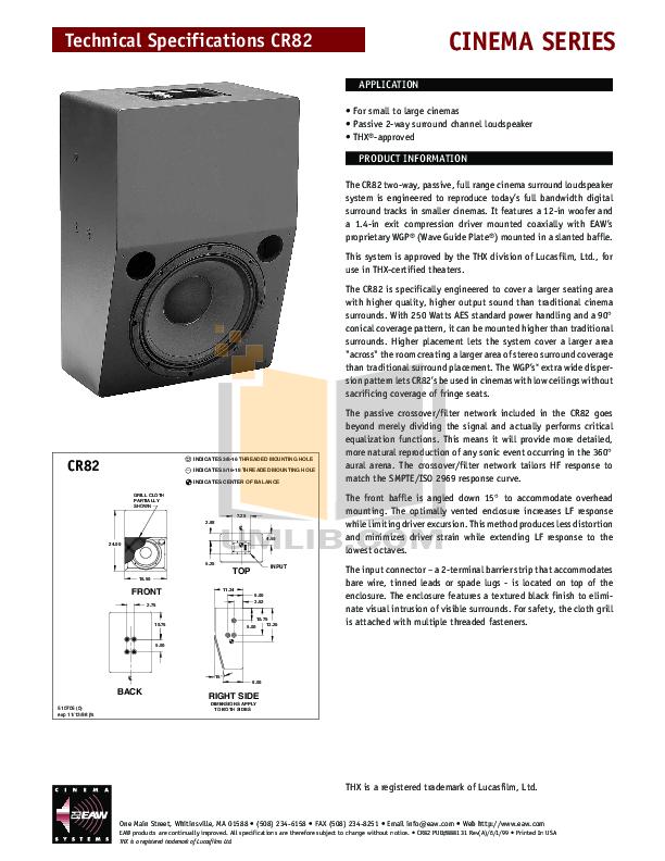 pdf for Eaw Speaker System Cinema CR82 manual