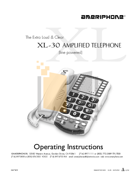 pdf for Ameriphone Telephone XL30 manual