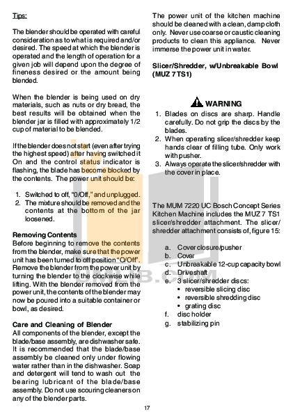 pdf for Bosch Food Processor MUM7150UC manual