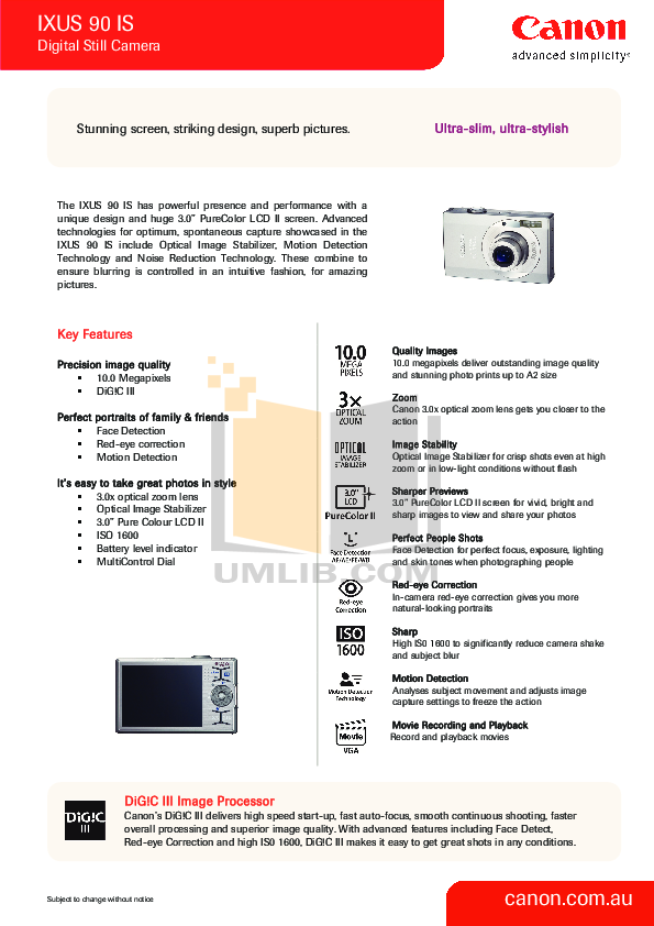 pdf for Canon Digital Camera IXUS 90 IS manual