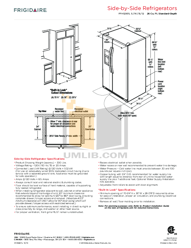 pdf for Frigidaire Refrigerator FFHS2611L manual