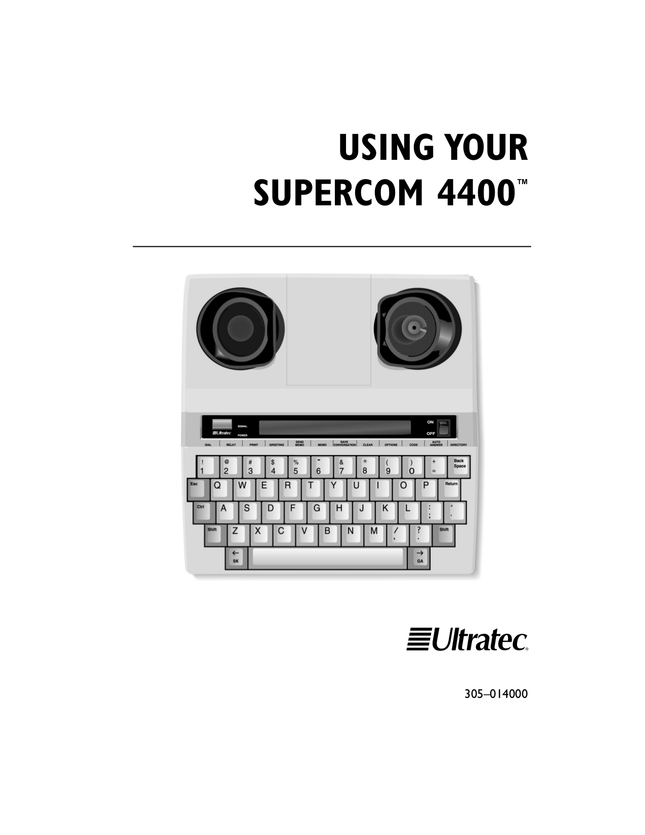 pdf for Ultratec Telephone Supercom 4400 manual