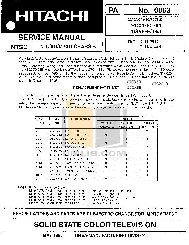 pdf for Hitachi TV 27CX21B manual