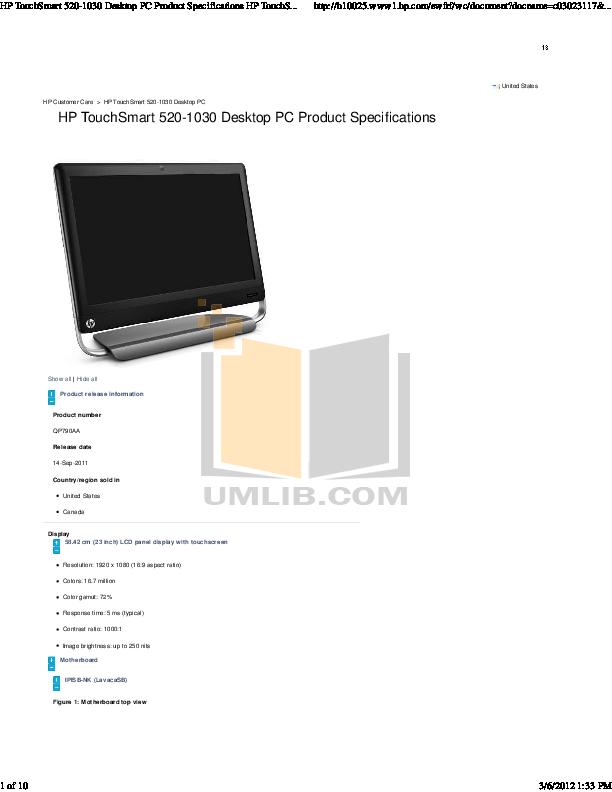 download free pdf for hp touchsmart 520 1030 desktop manual rh umlib com hp touchsmart 520 manual pdf hp touchsmart 520 pc user manual